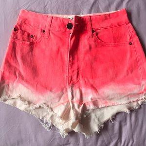 BDG neon pink high waist shorts